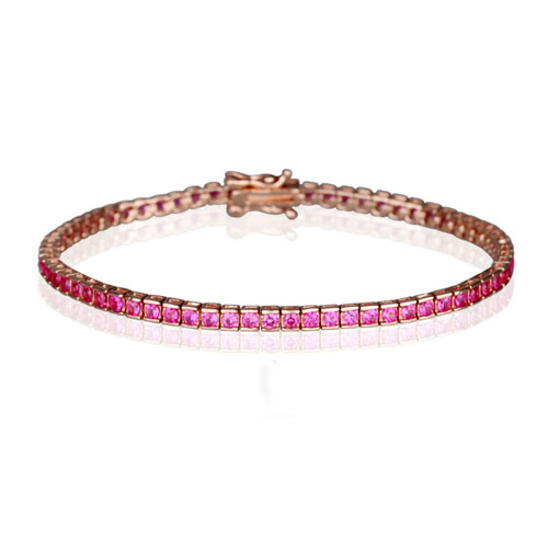 SQ1.5*1.5mm AAA Ruby CZ Bezel Tennis Bracelet