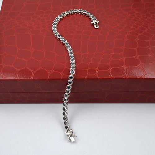 2.5mm AAA Black CZ Bezel Bracelet