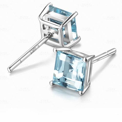 SQ 5*5 mm Blue  CZ Earrings