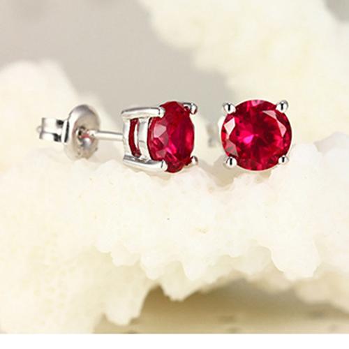 SQ 4*4 mm Ruby CZ Earrings