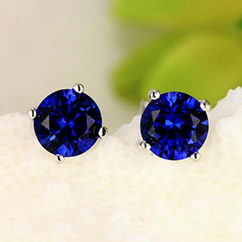 SQ 4*4 mm Sapphire CZ Earrings